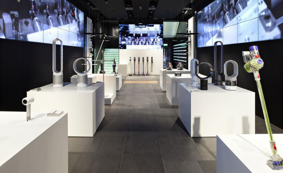 Brands like Dyson above are moving onto the high street and opening brand showrooms.