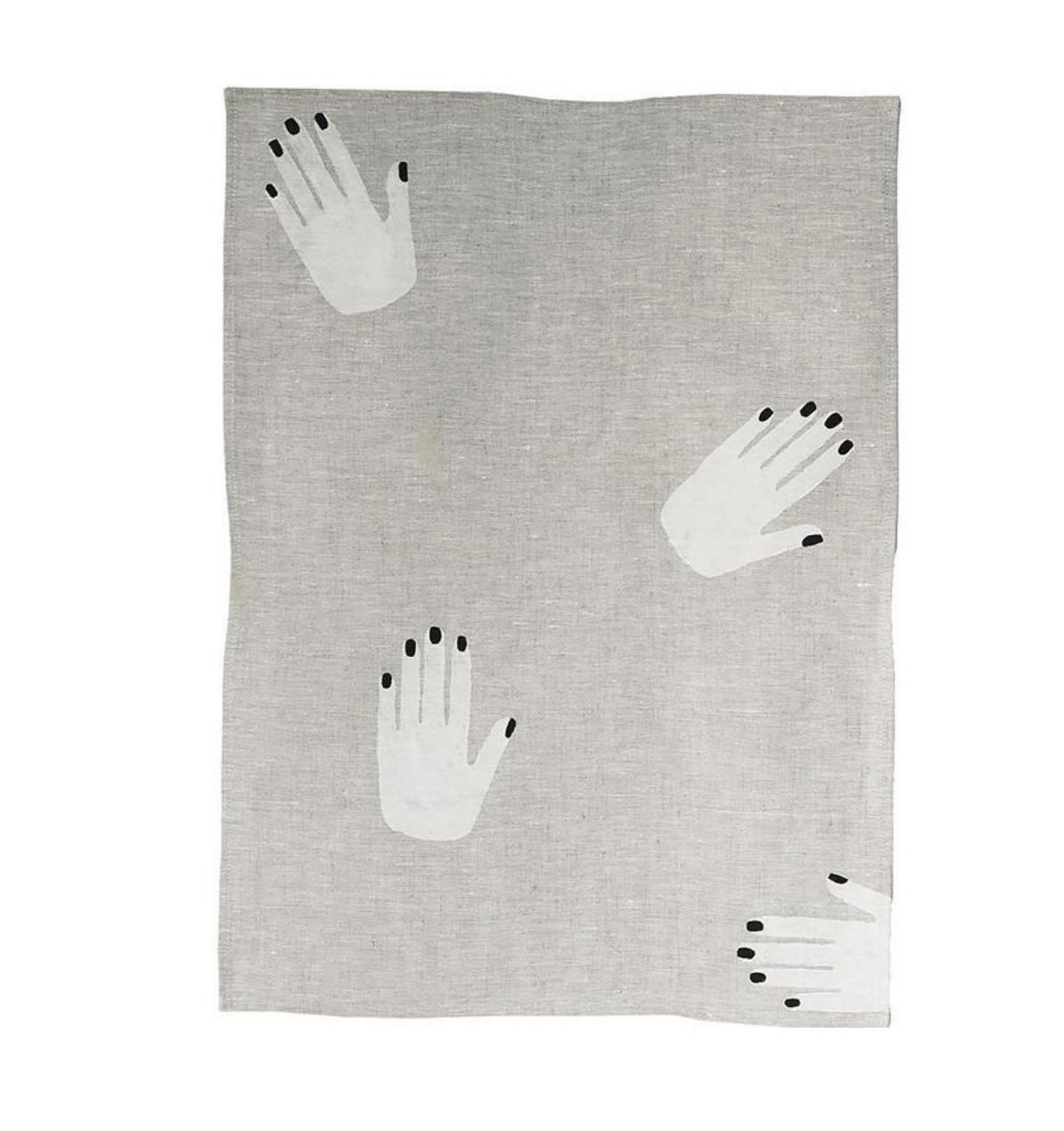 Hands off linen tea towel by  Fazeek