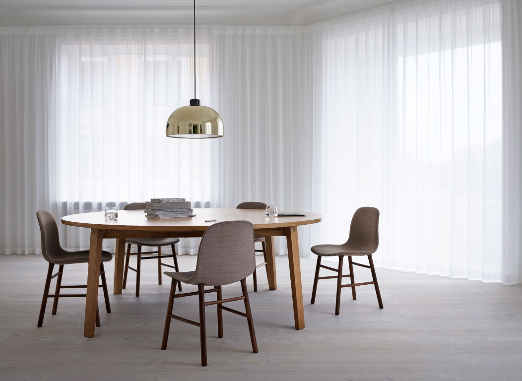 New collection - Slice Table, Form Chair Walnut, Grant Pendant by Normann Collection