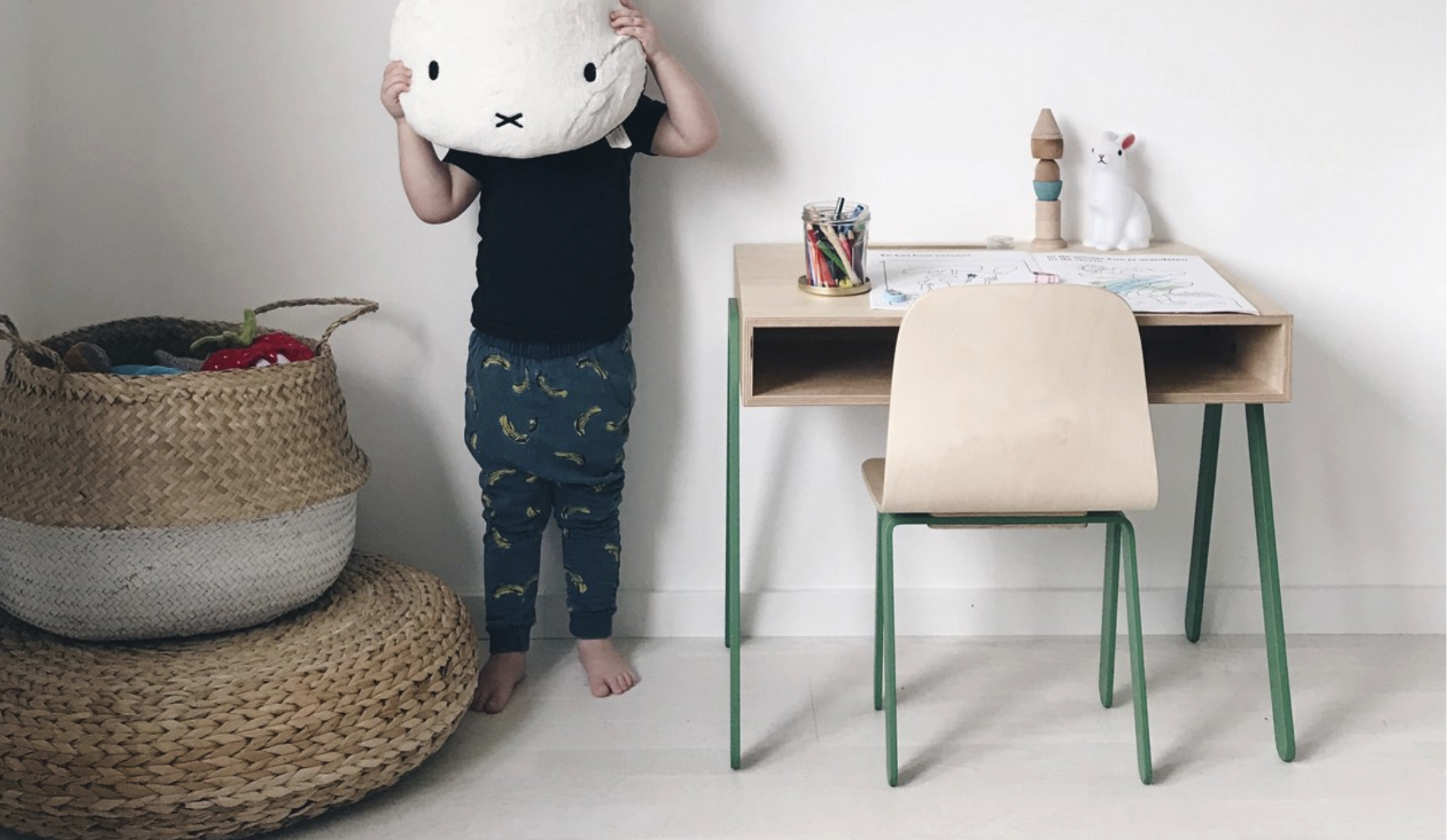 Wooden table and chair with pastel details by  in2wood .