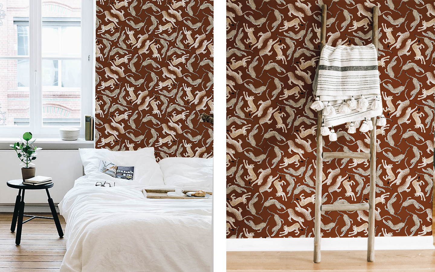 For walls with personality! Félin 02 wallpaper by  Maison Baluchon .