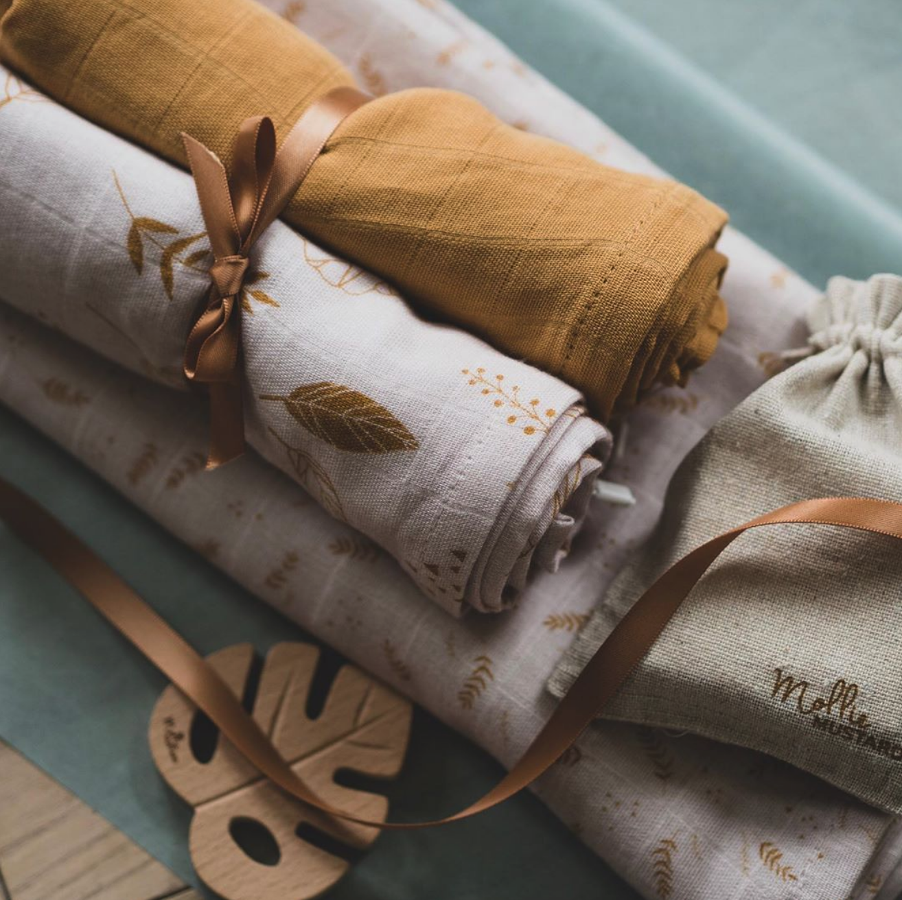 Organic cotton swaddle -  Mollie Mustard