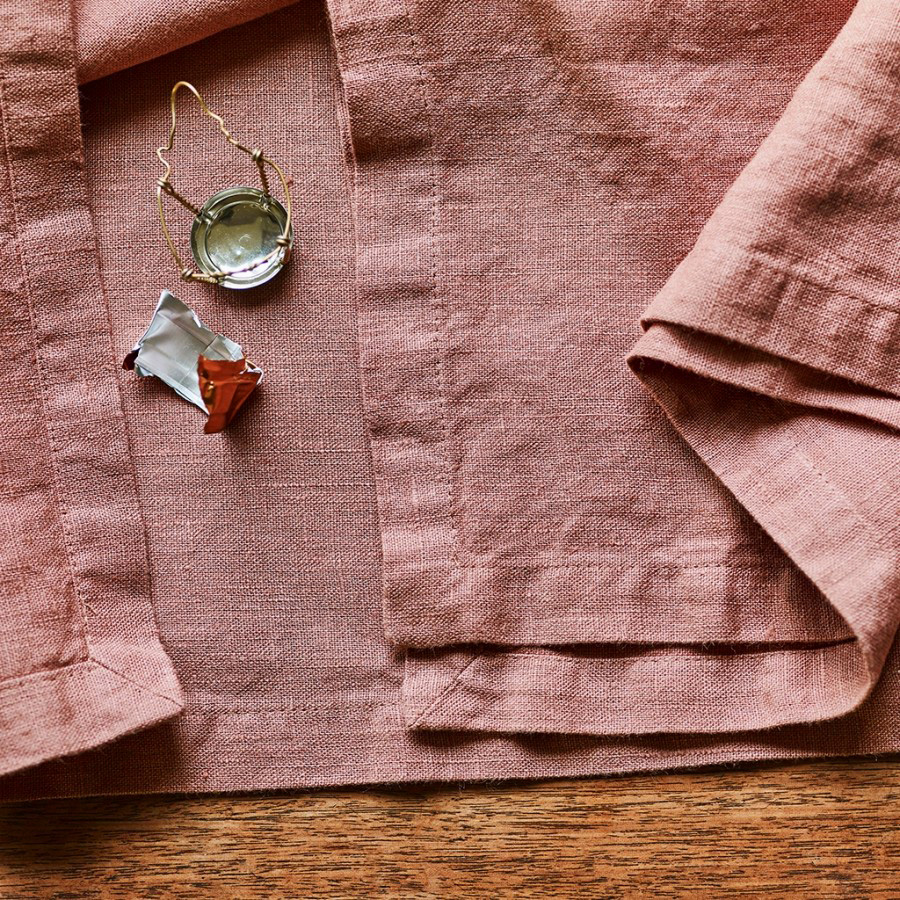 Plaster Pink Linen Napkins  by Rowen and Wren