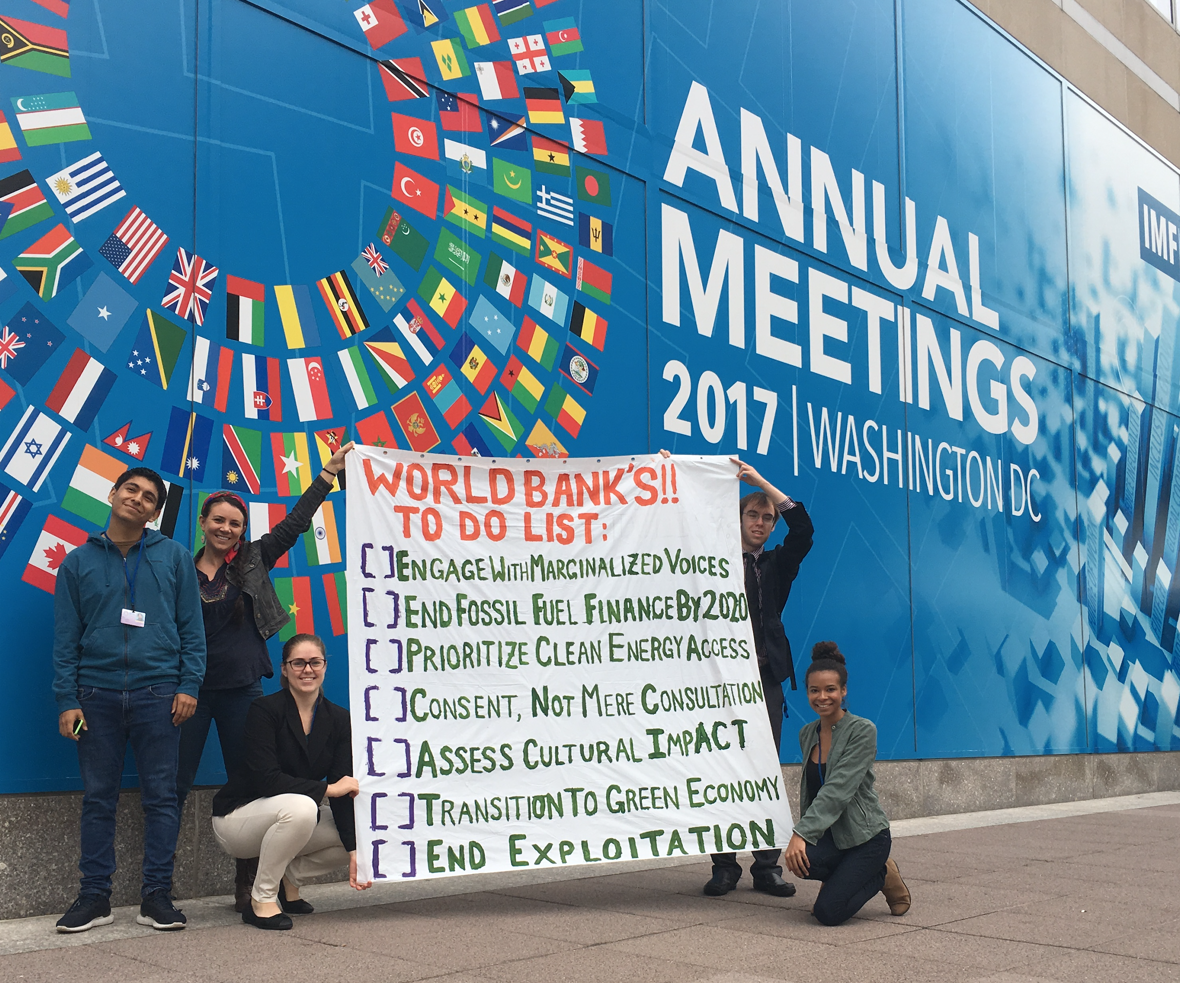 sustainUS World Bank Delegation 2017  - Delegation of U.S. Youth: Calling for the World Bank to end both fossil fuel investment by 2020 & indigenous non-consent