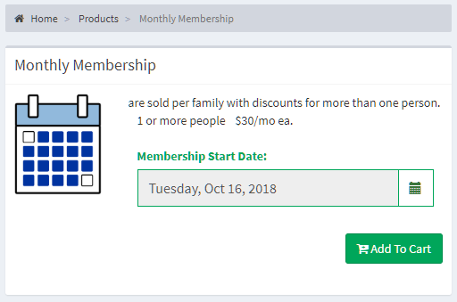 Purchase memberships online