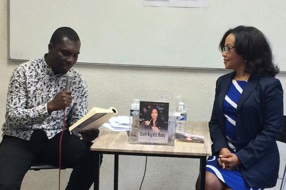 ESJ-Paris student Thierry Saint Espoir reads from Civil Rights Baby - Paris, May 6, 2019