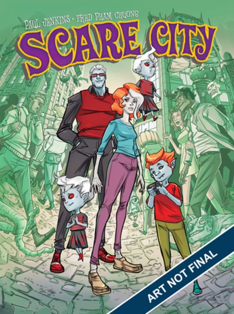 Title:  Scare City , Author: Paul Jenkins, Fred Pham Chuong, Veronica R. Lopez, Publisher: Humanoids, Publish Date: October 29, 2019; Genres + Tags: Children's, Coming of Age, Comics, Fairy Tale, Folklore, Graphic Novels, Legends, Mythology, Fantasy, Mystery