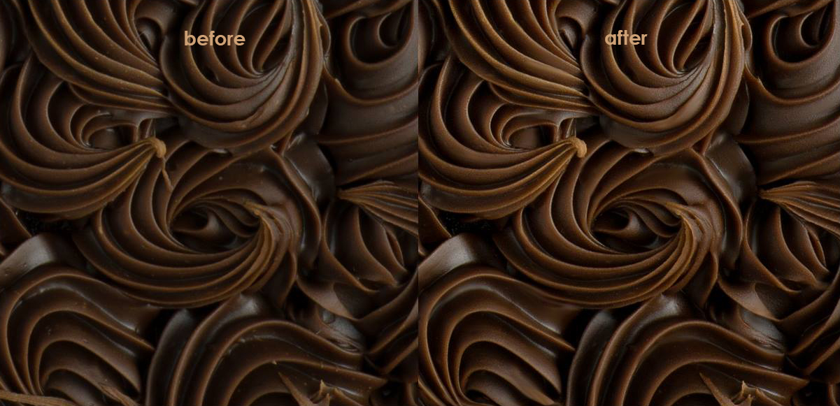 chocolate frosting with careful and artful retouching