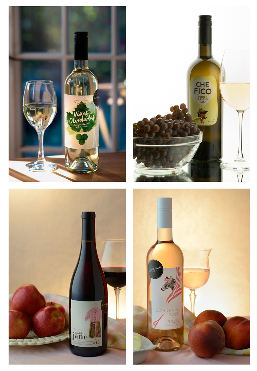 A collection of traditional wine ad shots with that silky-smooth lighting. Well, except for the Vinas Olvidadas on the upper left, which could be classed as an editorial shot--the on-location set, the multiple reflections in the glass.