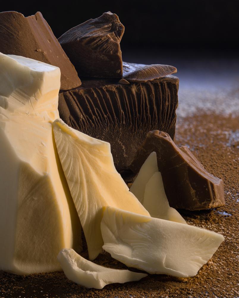 Three chocolates: White, Milk, and Dark