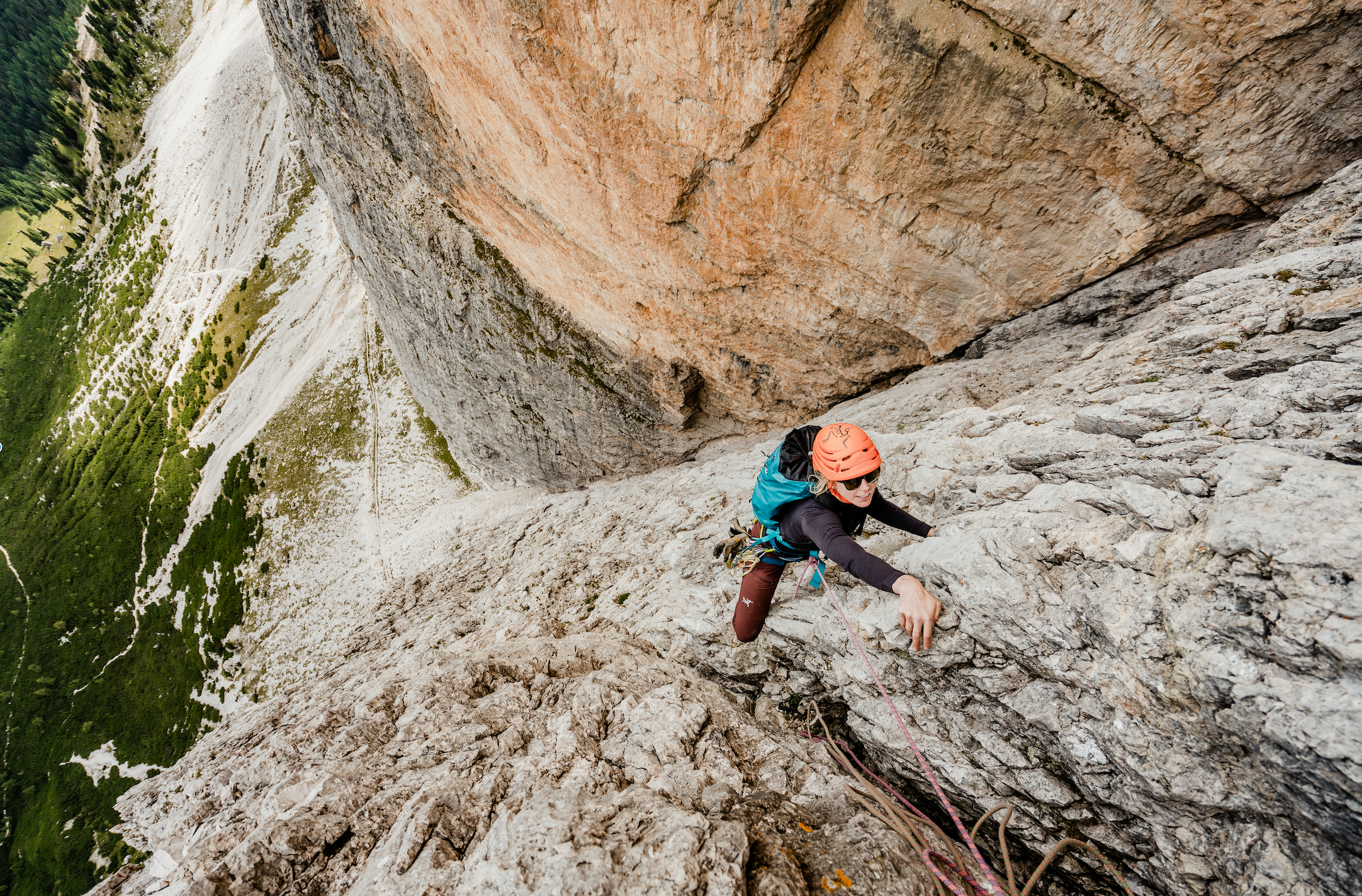 Rock climbing in the Dolomites. Photo by  Hugo Vincent