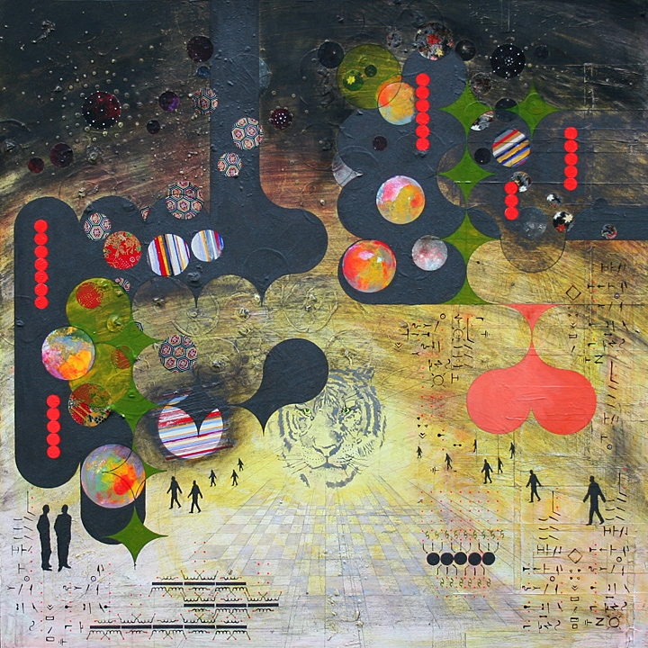 Dusk , acrylic, ink, graphite, paper, 30 x 30″ completed in 2011
