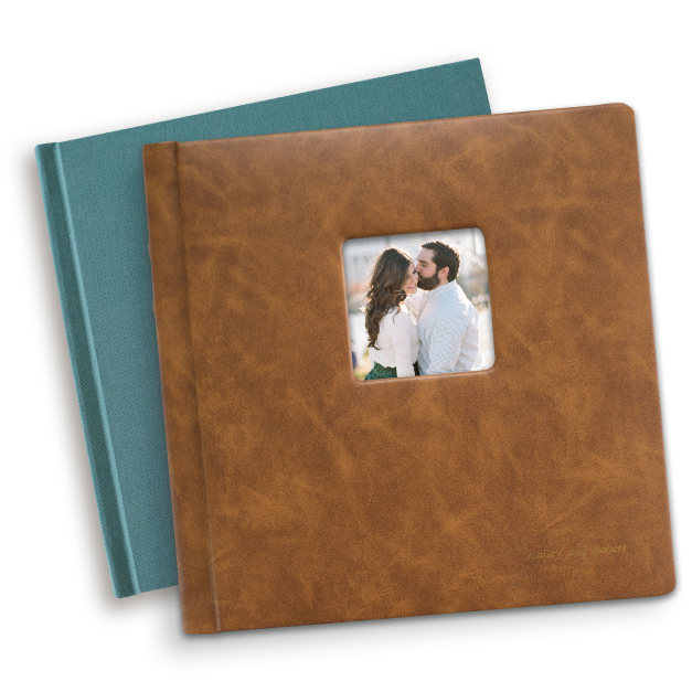Tuscany - Choose the Tuscany Classic Album if you want a padded cover in premium leather or leatherette.Other features include tucked cover corners, a library spine and an optional cameo window in some sizes.10x10 leatherette base album starts at $350. (Premium add-ons available.)