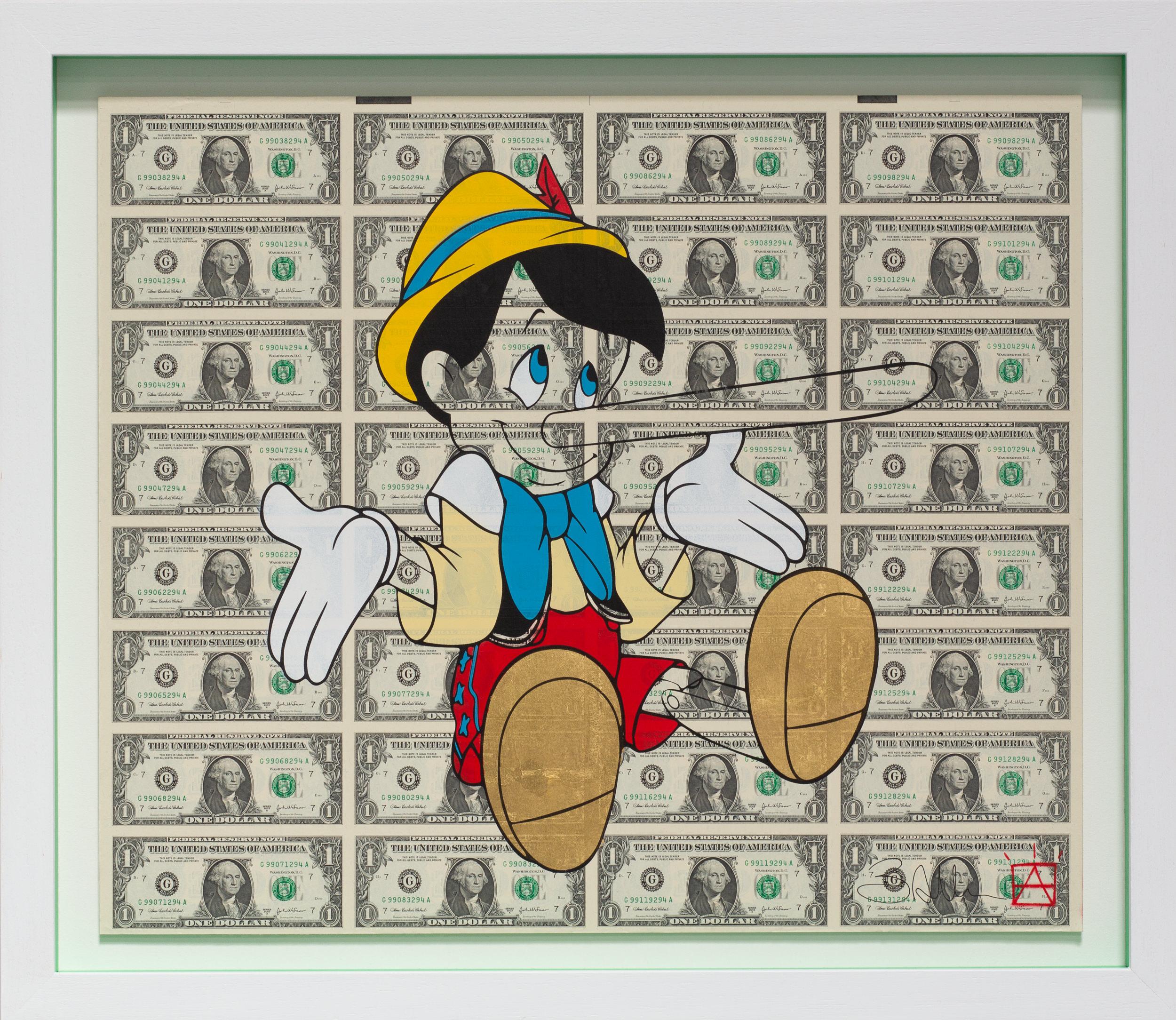 Liar-Liar_Spray_paint_screenprint_24crt_gold_leaf_on_uncut_sheet_of_US_one_dollar_bills_in_white_wood_box_frame_green_custom_insert_63cm_x_54cm_£2250.jpg