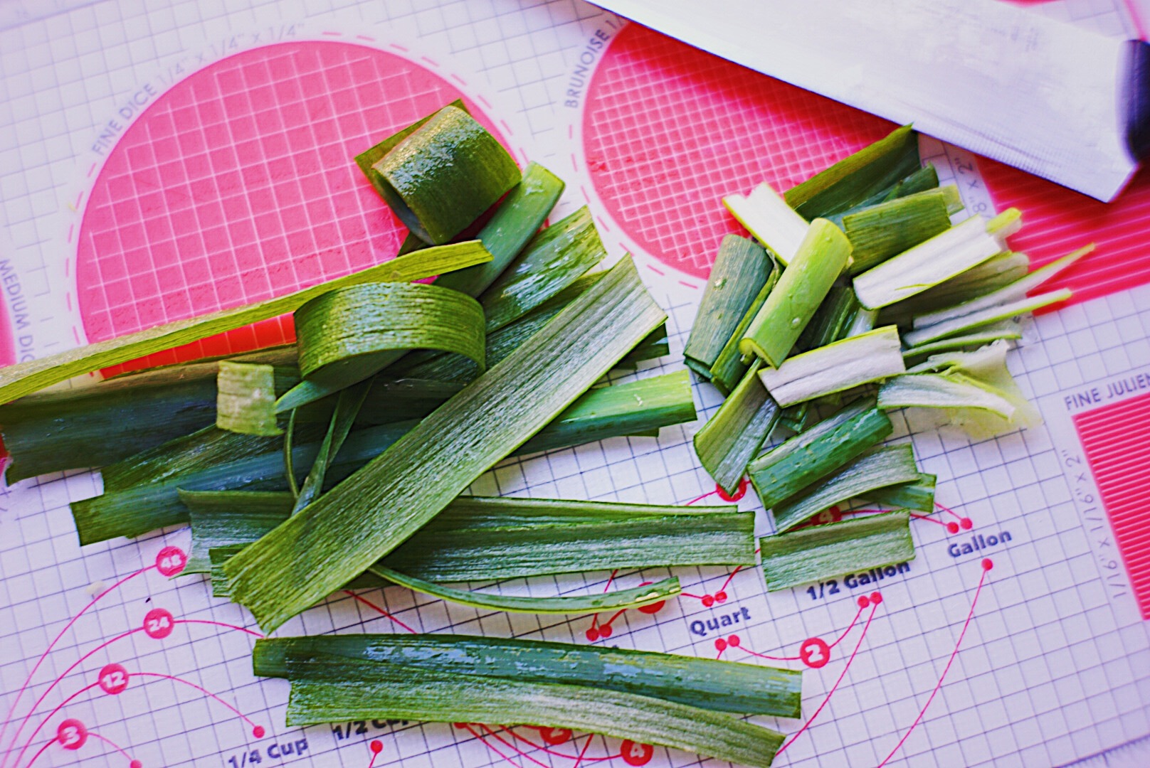Cut off the white section of the leek to add into soup. Then cut green sections into 1 inch long pieces.