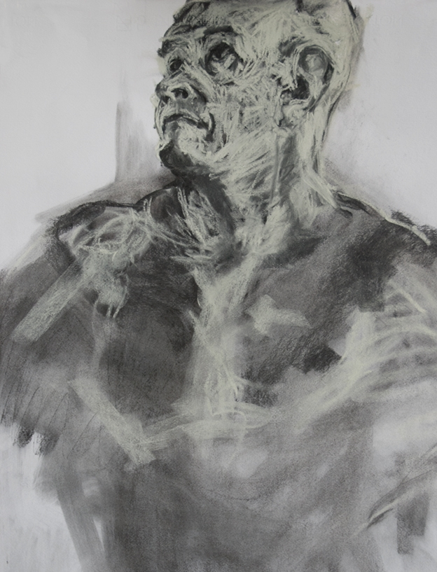 Heads-Up. Charcoal and pastel