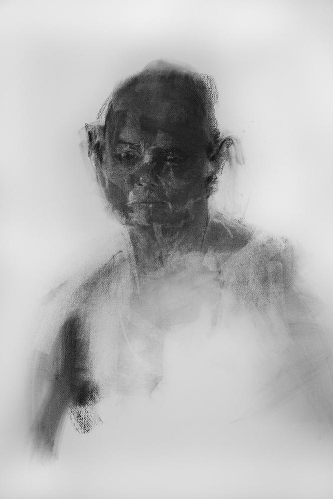 Dark Head Study. Charcoal