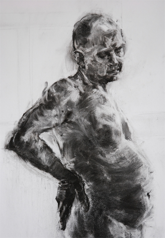 Male nude study 3/4 length. Charcoal