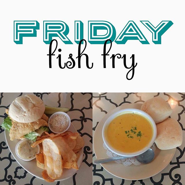 Happy #Friday, Green Bay! Let's start it off right with a perch sandwich and/or a bowl of our delicious seafood bisque soup! Fish Fry all day at the Whitedog! #fishfry #greenbay #wisconsin #whitedogblackcat