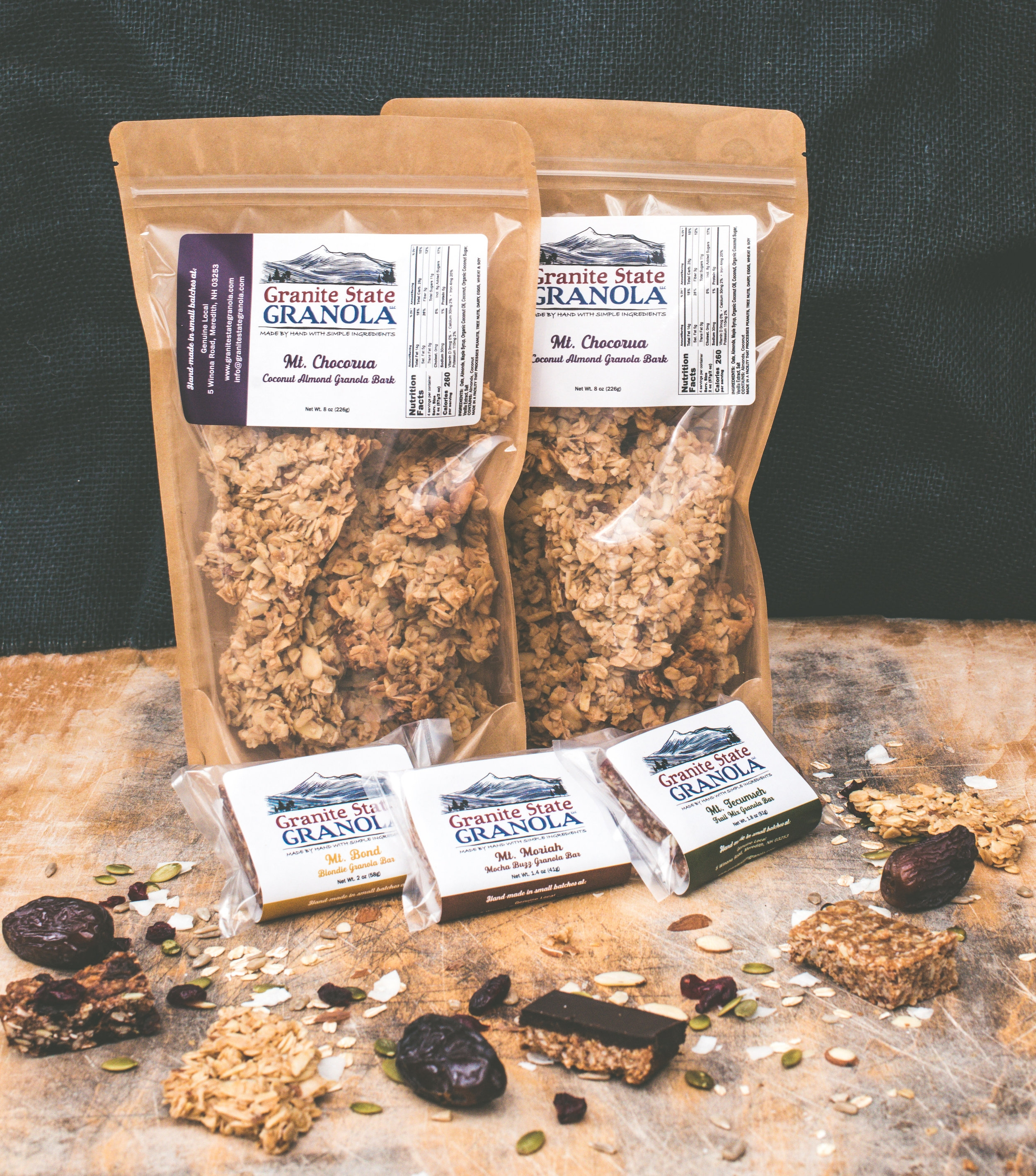 Granite State Granola Product Line.  Photo Credit: Jessica Ramos, Culture to Table  *Granite State Granola products are made in a facility that also handles eggs, wheat, milk, and soy.