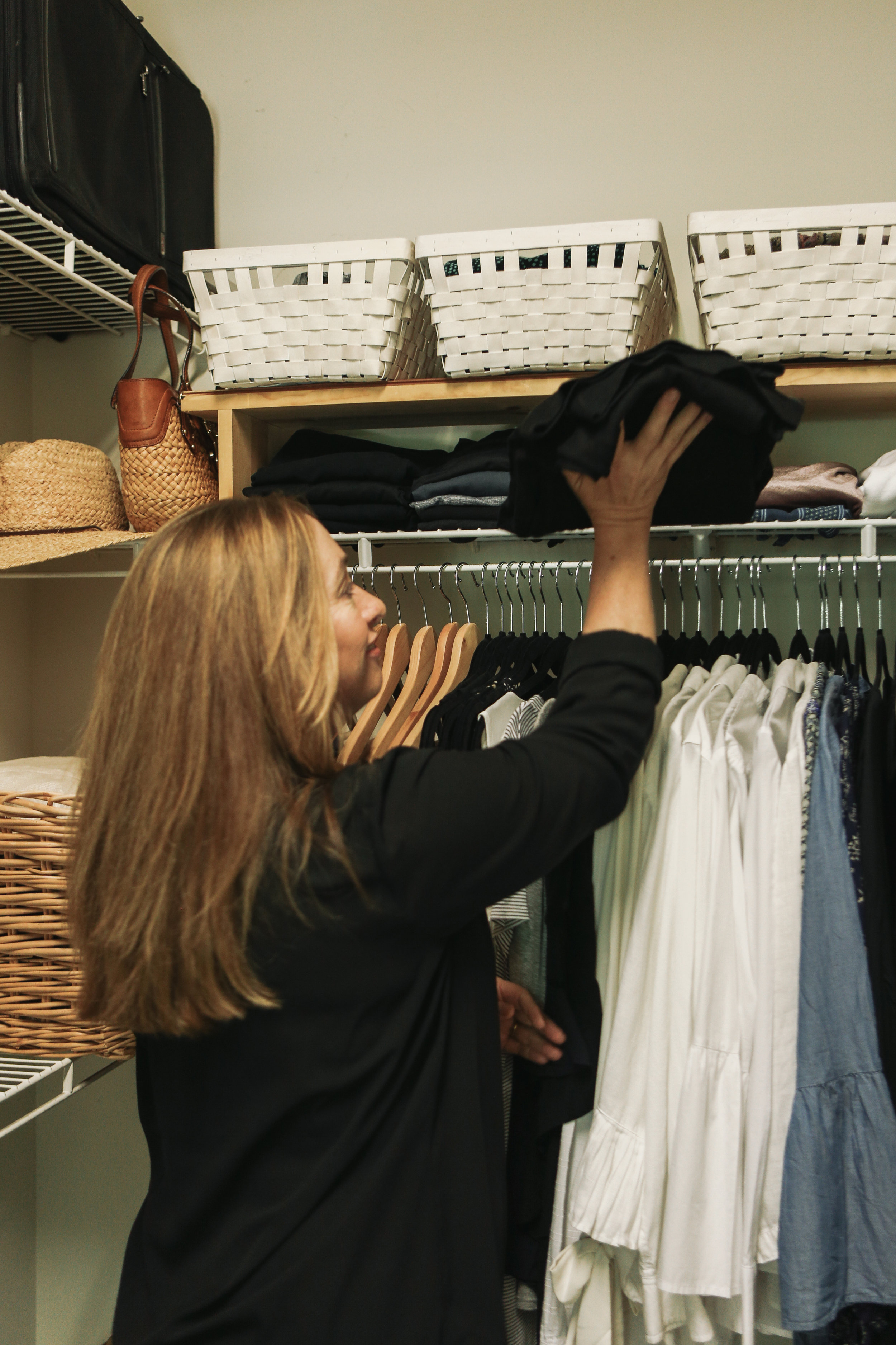 Step 4 - If you did not do a spring closet purge, now is a great time to do it! With your summer closet organized, color coded and edited, it is much easier to see duplicates, pieces that don't fit properly, items that were gifts that you don't love, or clothing that has seen better days. Remove anything that you no longer need or love!