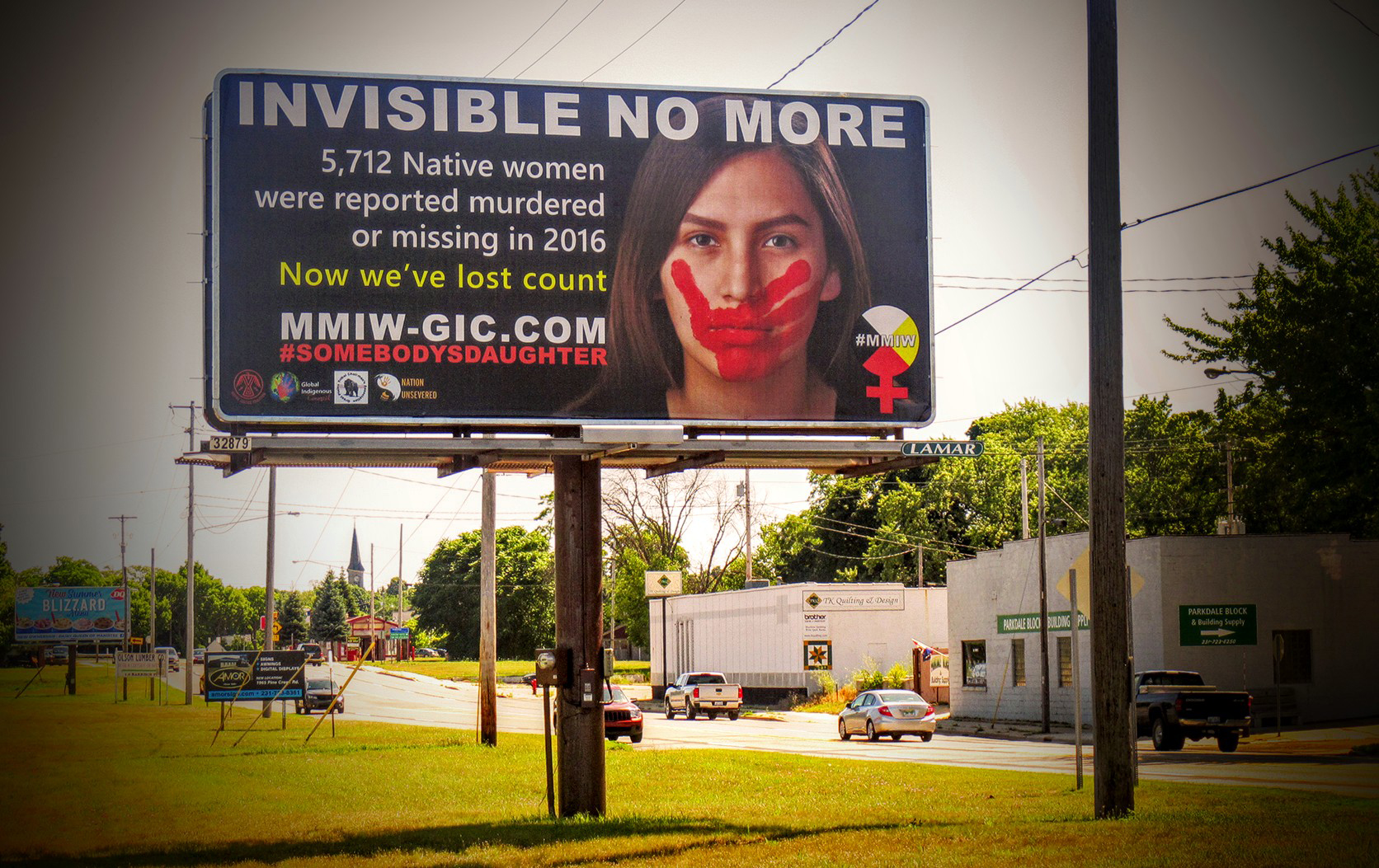 MMIW billboard in Manistee, Michigan, home of the Little Band of Ottawa Indians. Photograph by Cecelia LaPointe