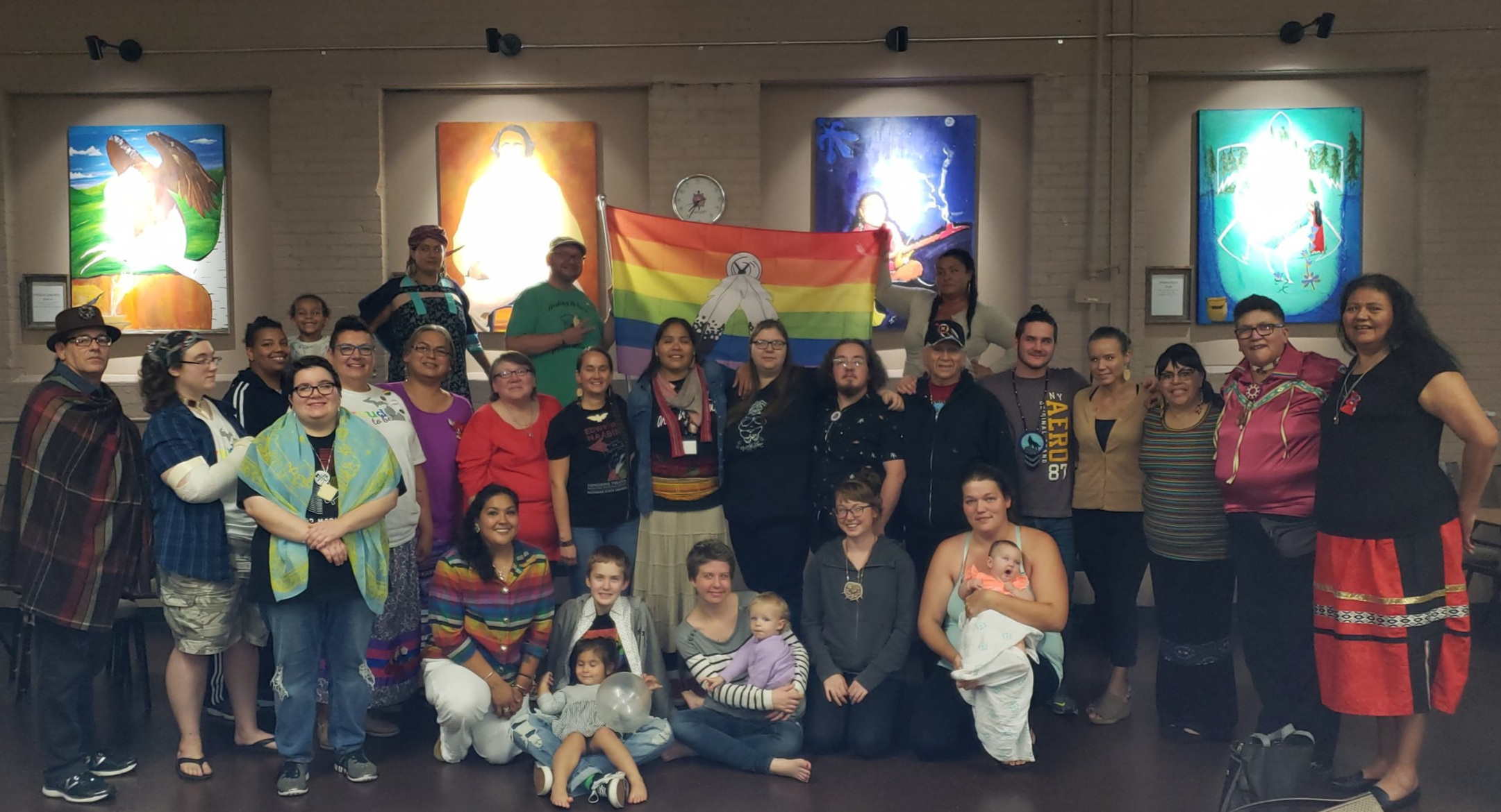 Photo: Our first ever Two-Spirit Healing Stories, Grand Rapids, MI, September 2019. We had 13 phenomenally Indigenous Story Sharers and 60 supportive event attendee's. Story Sharers represented many Native Nations including: Anishinaabe (all Three Fires - Ojibway, Odawa & Potawatomi), Oglala Lakota, Blackfoot, Okanagan and Shuswap First Nation.