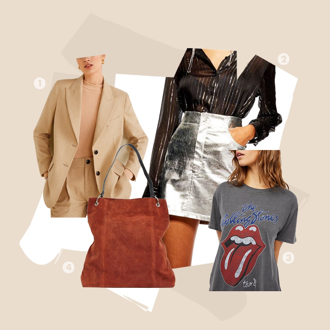 Saying No to Neon - Hard pass on Neon? No need to glow if you want to make a statement. Choose neutrals with structure, shine in metallic skirt, Rock out with a graphic T, or choose a less-saturated orange with a rust suede bag.