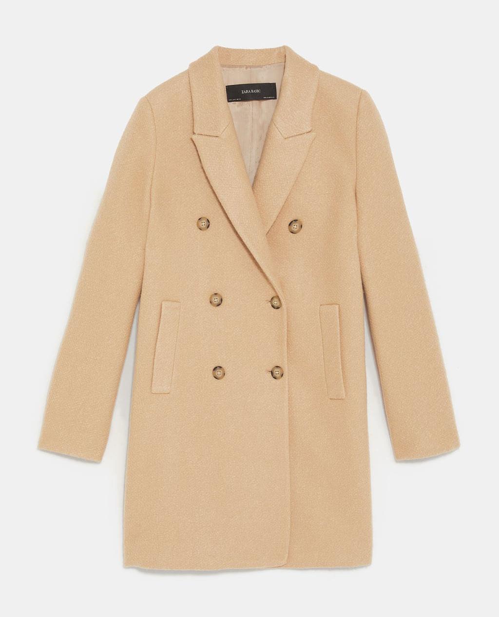 Zara Double breasted camel coat     $59.99