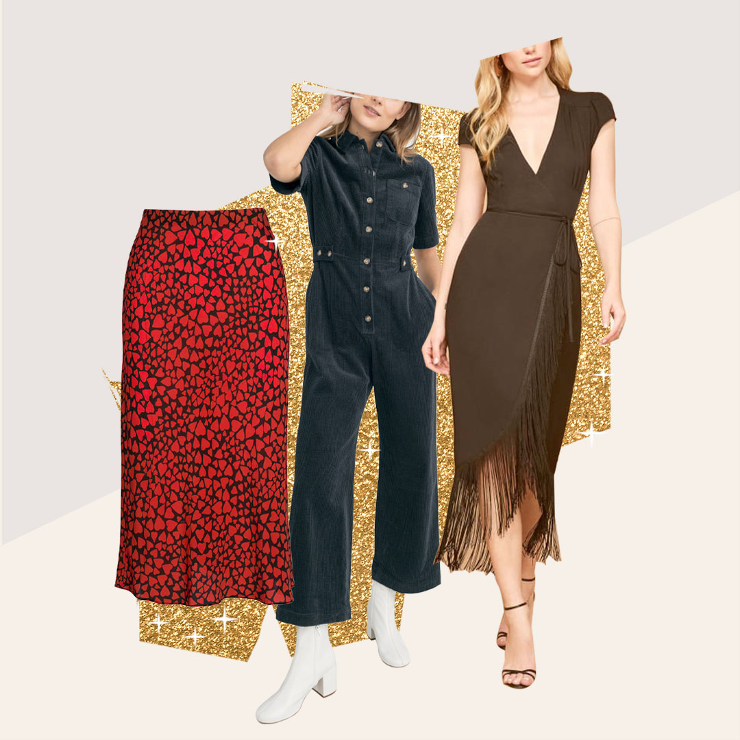 Skip the Shine with These Hot Trends - Not every holiday outfit has to be glittery✨ Try a graphic print to substitute sequins, a corduroy jumpsuit or velvet top for different textures or a fringe dress for a fun, sassy evening.