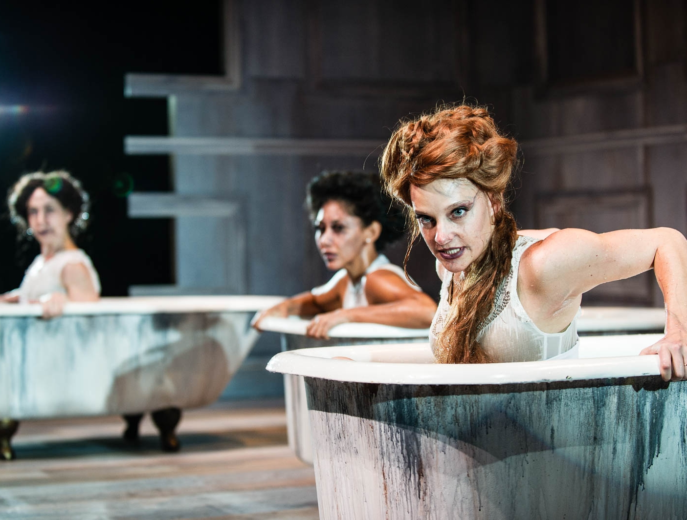 The drowning girls - by Beth Graham, Charlie Tomlinson & Daniela VlaskalicOct 23–Nov 11, 2018A haunting play about three brides who share two things in common: they all married the same man, and they are all dead. Rising from their clawfoot bathtubs, Bessie, Alice, and Margaret share evidence against a murderous man in a chilling ghost story that recounts the crimes.Learn More BUY TICKETS