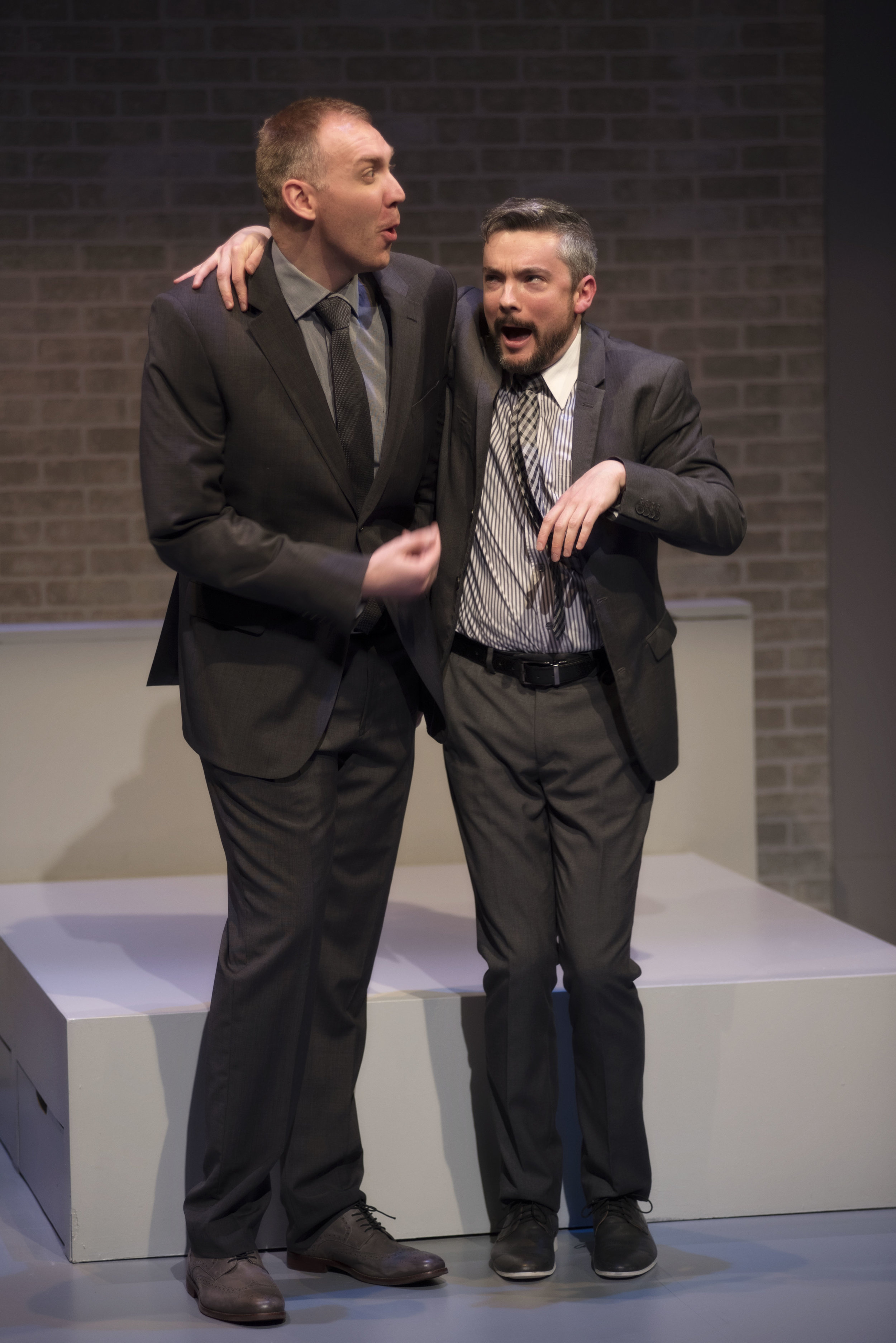Mark Crawford and Paul Dunn in Centaur Theatre's production of  Bed and Breakfast . Set and costume design by Dana Osborne and lighting design by Rebecca Picherack. Photo by Andrée Lanthier.