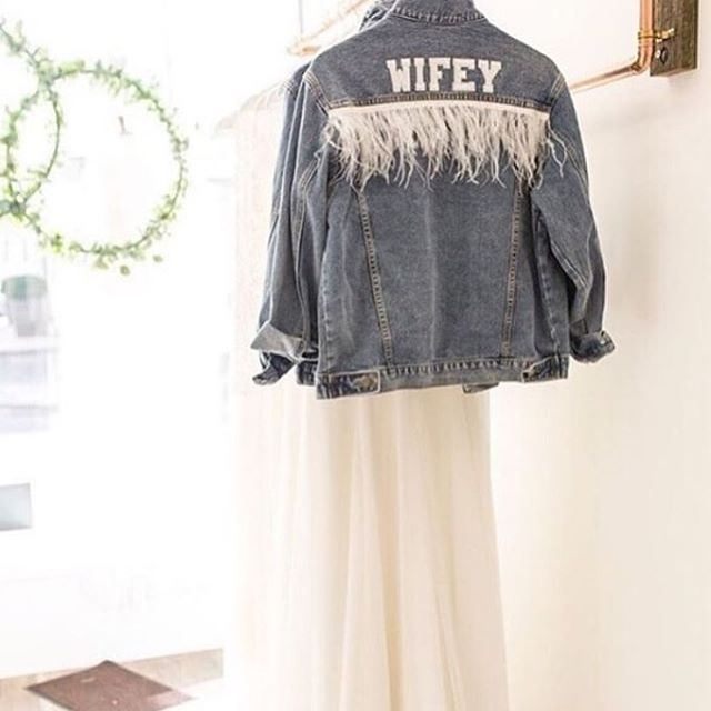 Our signature wifey jacket £94.95 order online now! 📷 @natashacadman . . . #customised #personalised #oneofakind #denim #denimjacket #lovedenim #misstomrs #bridestyle #bridalaccessories #bridetobe #misstomrs #engaged #modernbride #coolbride #instabride #bridalmusings #ootd #instastyle #orderonline #shopindependent #wifey #wifeyforlifey #bridesmaid #hendo #bridetribe #squadgoals #supportsmallbusiness #wifeymaterial #rockmywedding #beespokebride