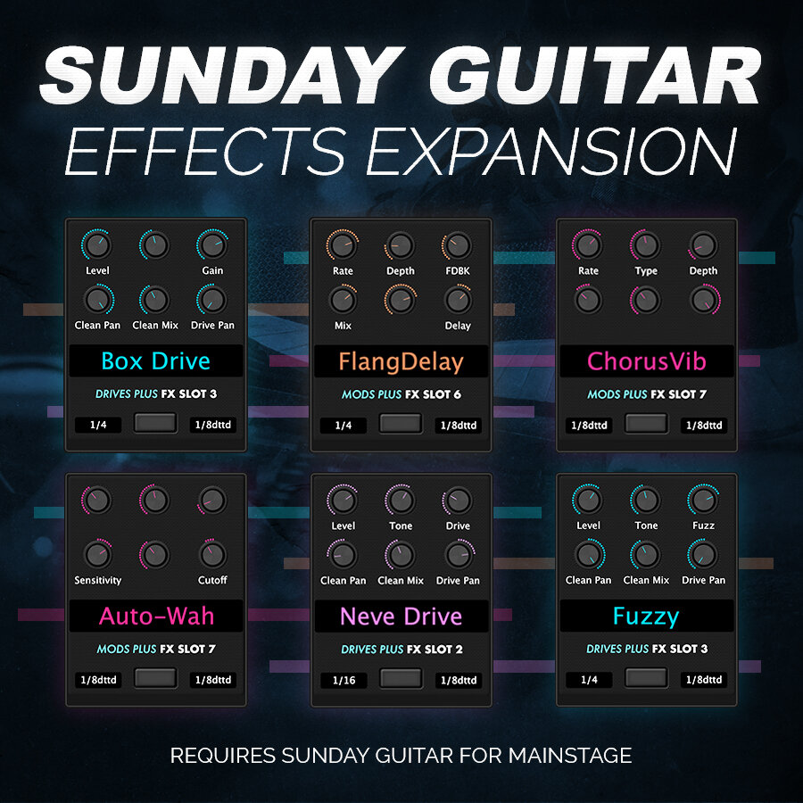 sunday guitar effects expansion mainstage patches and templates from sunday sounds. Black Bedroom Furniture Sets. Home Design Ideas