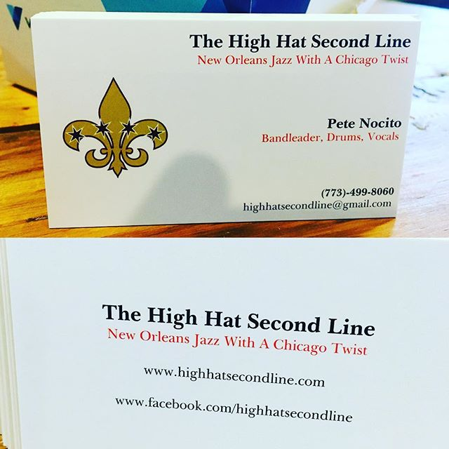 New business cards from @vistaprint. With @highhatclub #RIP and @peternocito #highhatsecondline #nolainchicago #brassband #youusedtocallmeonmycellphone