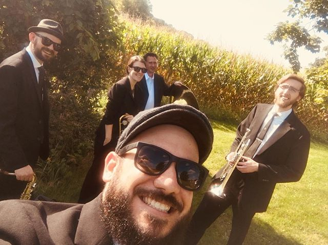 Outdoor wedding in Princeton, IL #cradleofcivilization with @timothykoelling @catiehickey, @jon_rarick and Rob. Congratulations Chris and Kerri! Btw- we now have an arrangement of Blackbird that you might dig. #highhatsecondline #nolainchicago #brassband