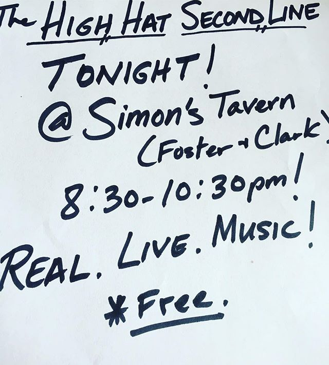 Tonight! Catch the @highhatsecondline in action at Simon's! #brassband #nolainchicago