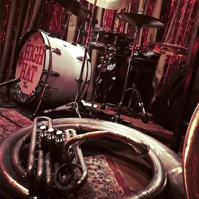 Last night's gig at @honky_tonk_bbq with @highhatsecondline @ryancson @airanw mike Hogg and @welovebenbellbern  playing my full @ludwigdrumshq setup including #atlasmounts @paistecymbals #paistetwenty @vicfirth #nolainchicago #brassband #brassisthenewmetal