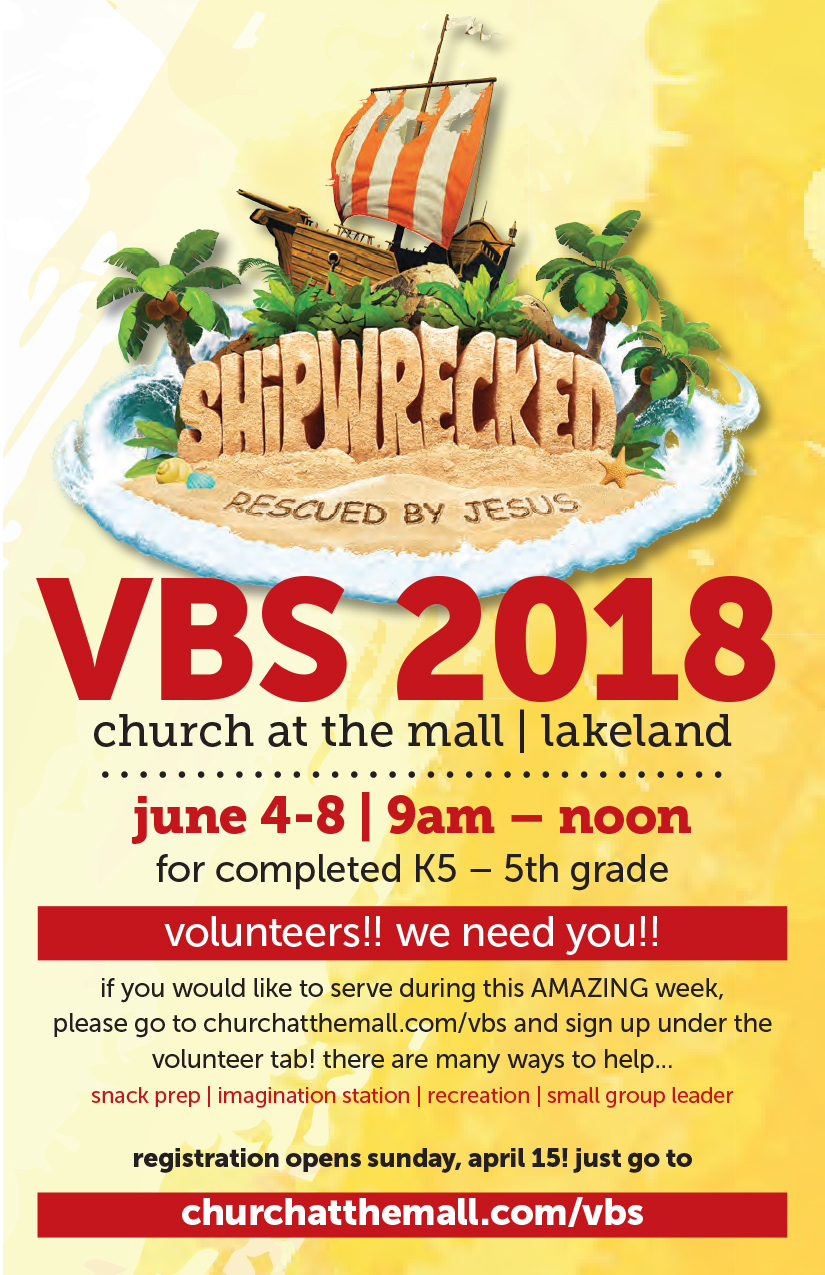 2018 VBS registration is now open for children who has completed K5-5th grade  - If you would like to register your child who has completed K5-5th grade, or if you would like to volunteer during VBS week just click the link below.