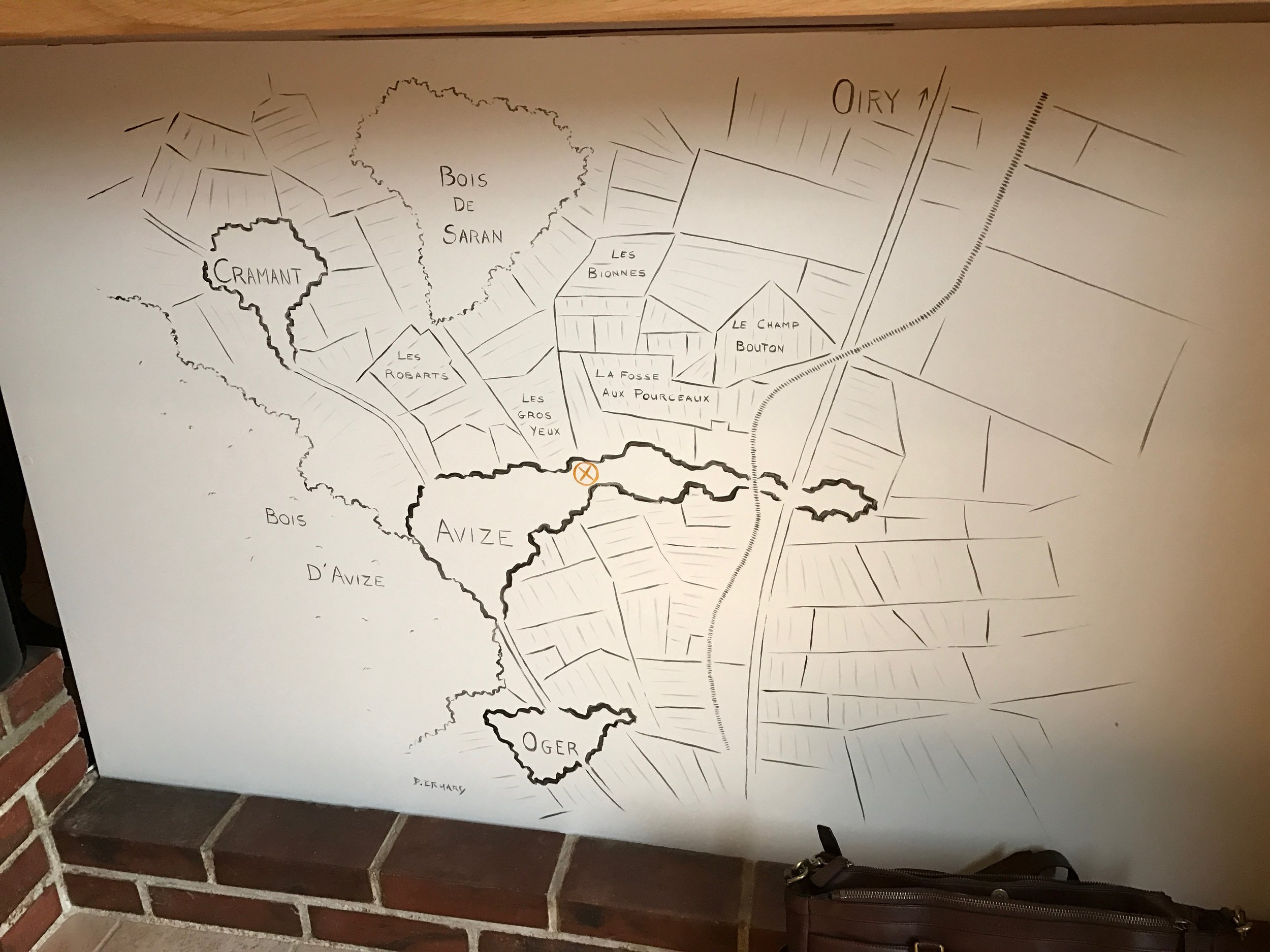 The map detailing their vineyards painted on their modest tasting bar.