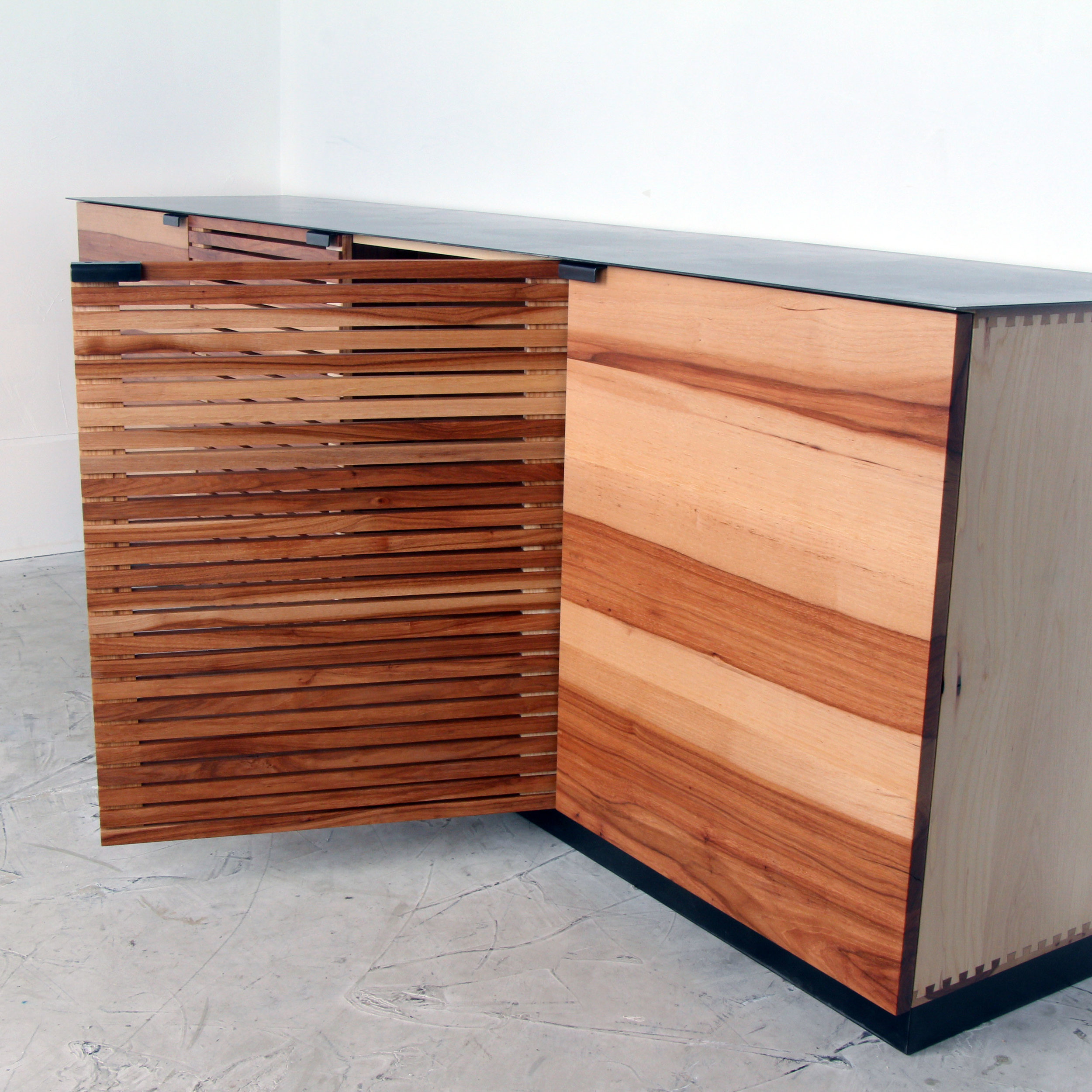 Pecan Slat Media Console Steel top by Mockingbird Made