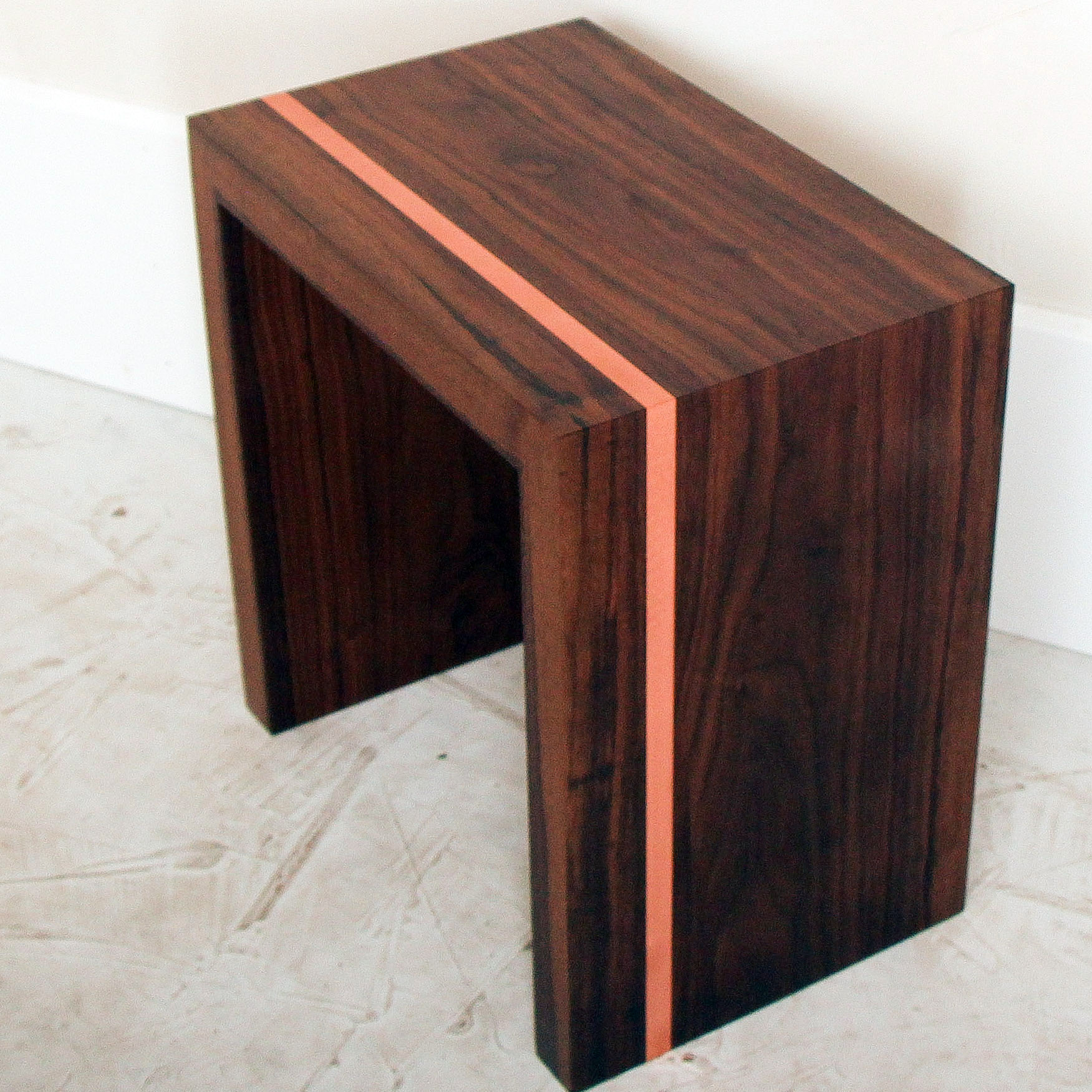 Walnut & Copper Side Table by Mockingbird Made