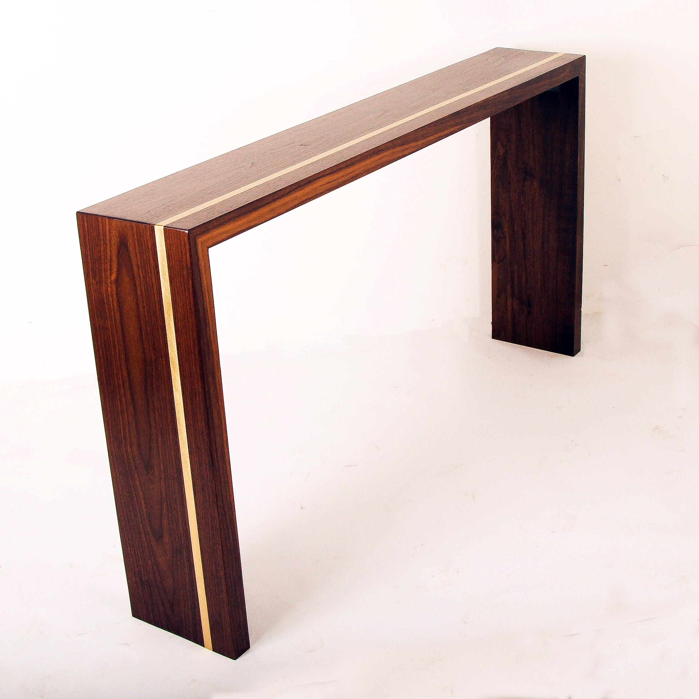 Walnut Brass Console