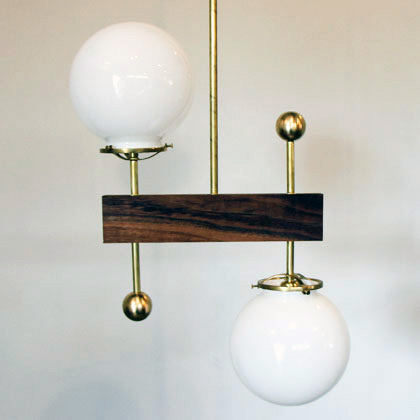 2 Globe Walnut Brass Light