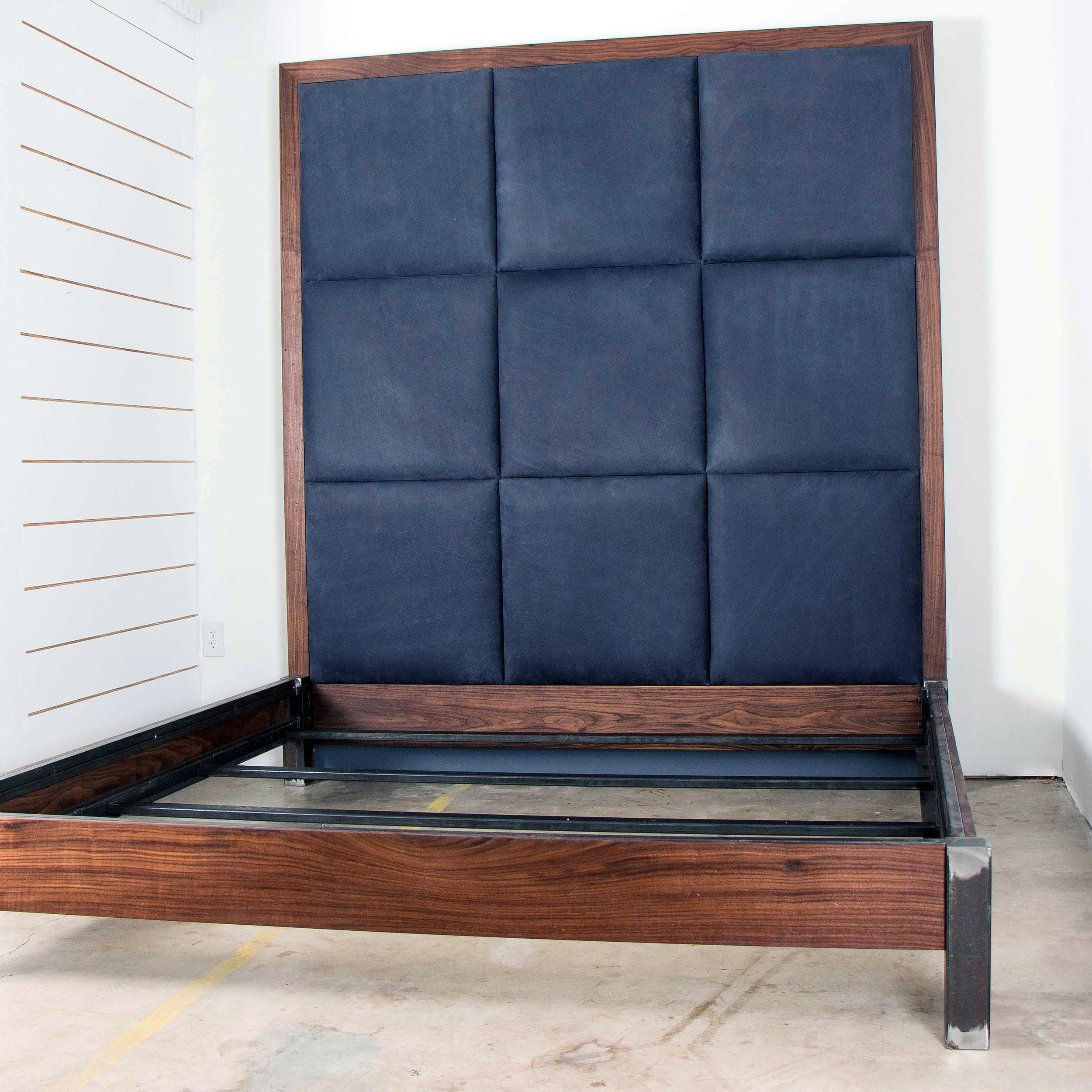 Walnut Steel Bison Upholstered King Bed