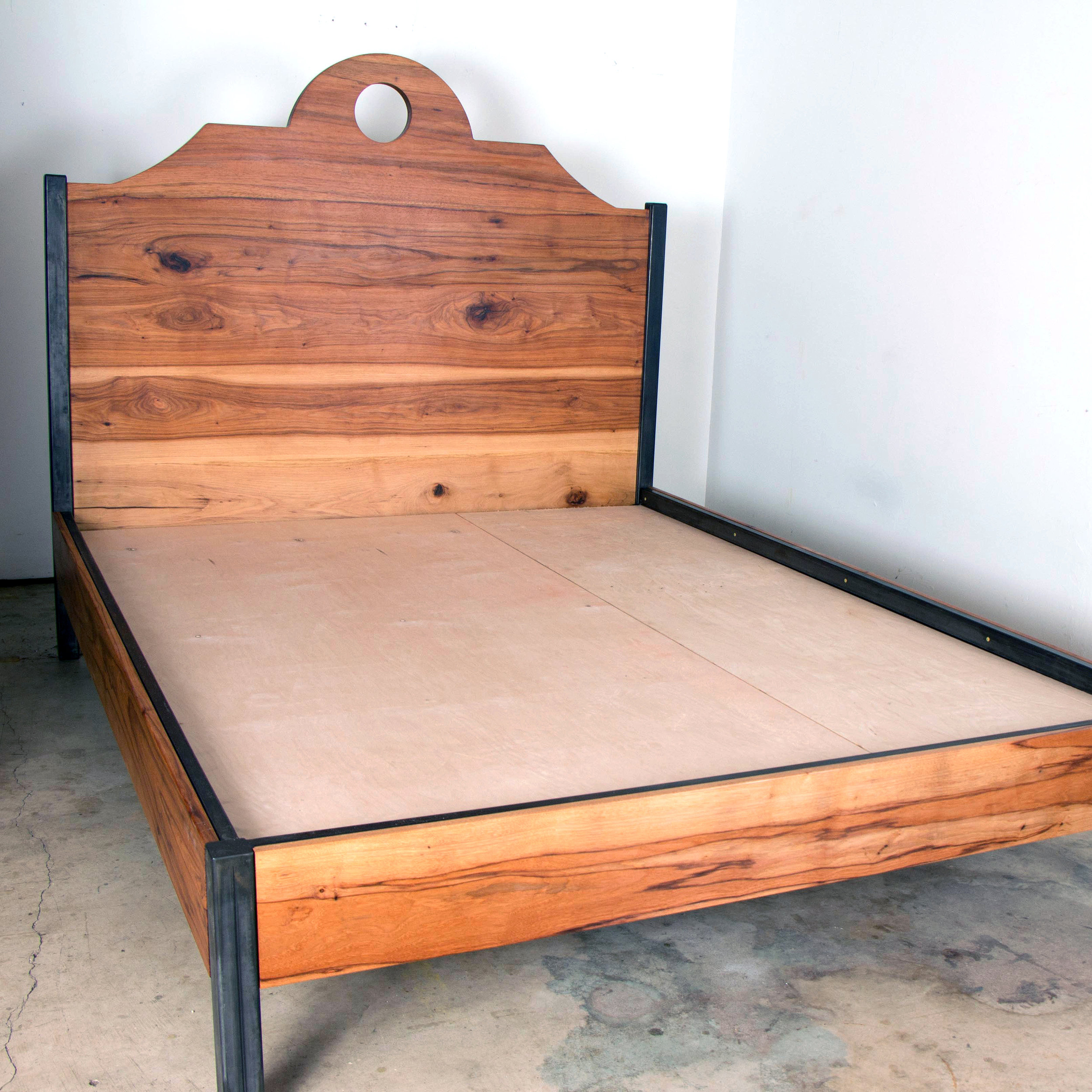 Pecan & Steel Queen Bed