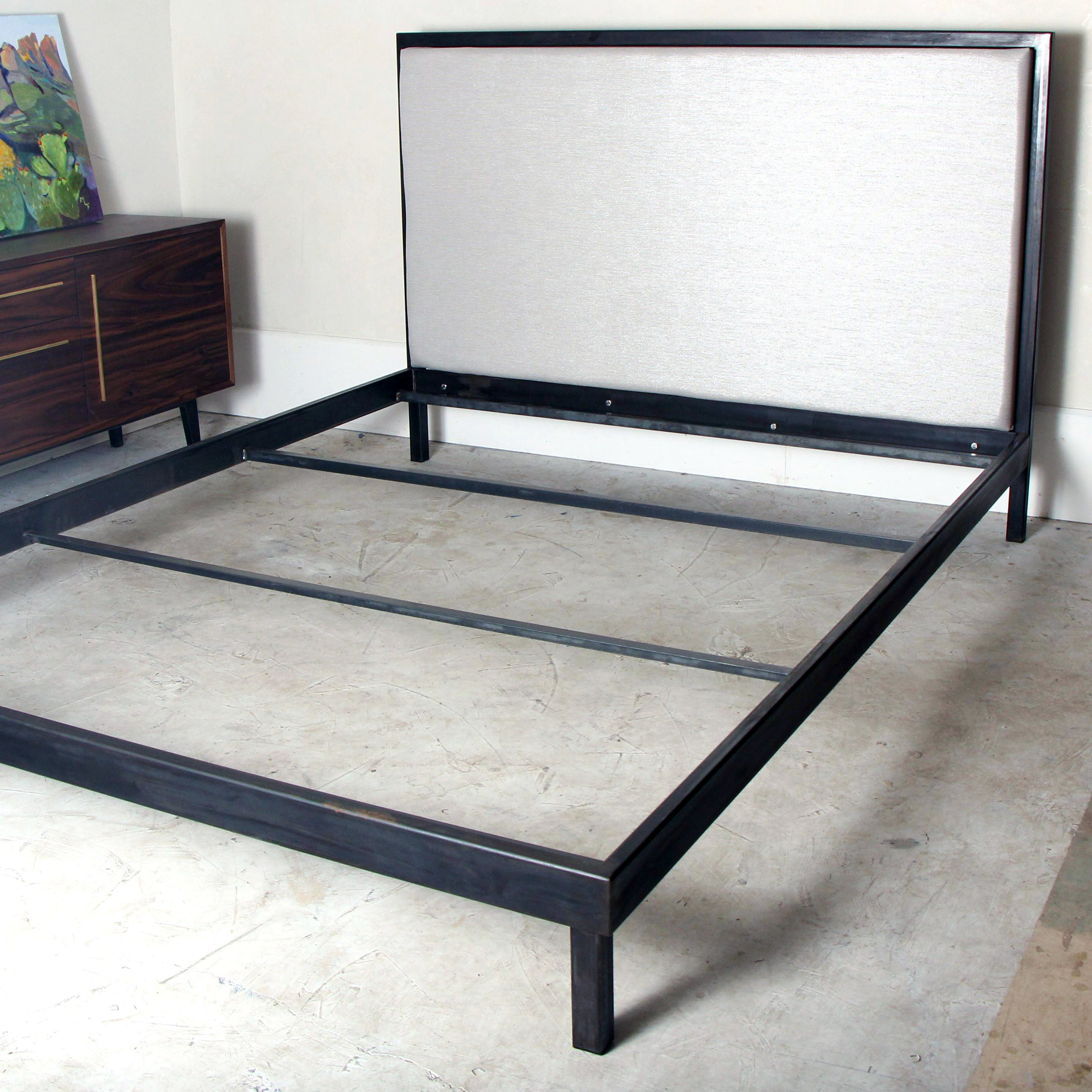 Upholstered Steel King Bed