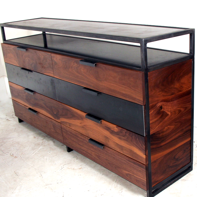 Walnut Steel Media Cabinet