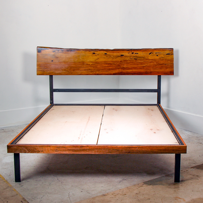 Pecan Slab Steel King Bed