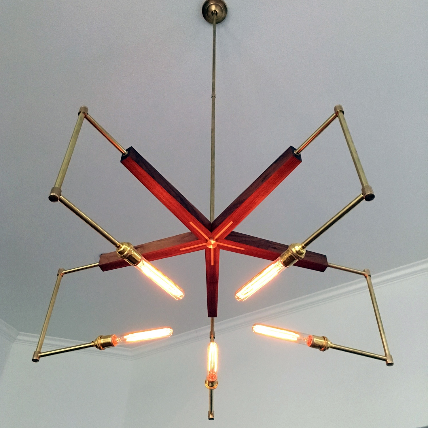 Starlight Walnut & Brass Chandelier